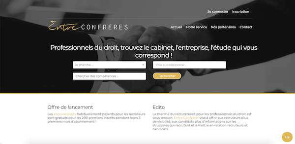 Screenshot du site entre-confreres.fr